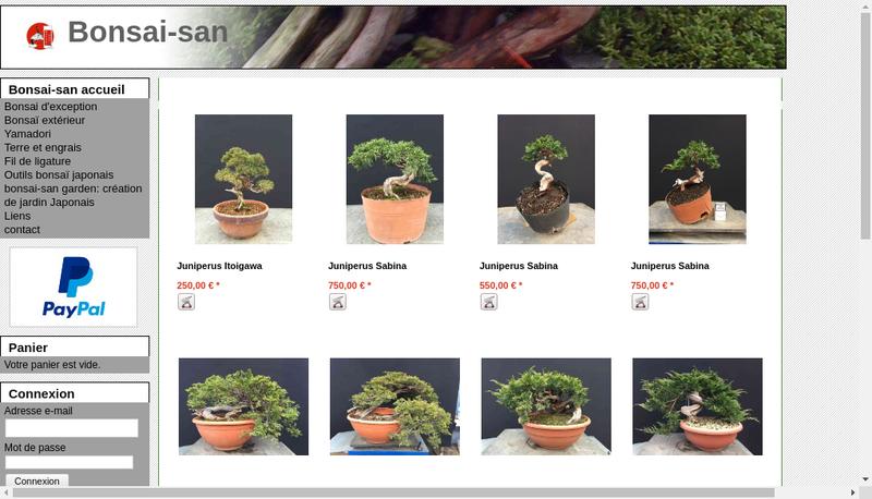 Capture d'écran du site de Bonsai San