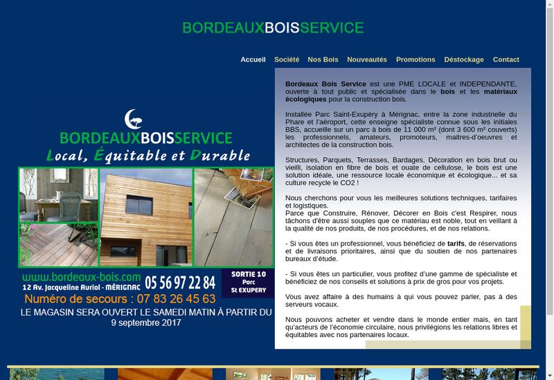 Capture d'écran du site de Bordeaux Bois Service