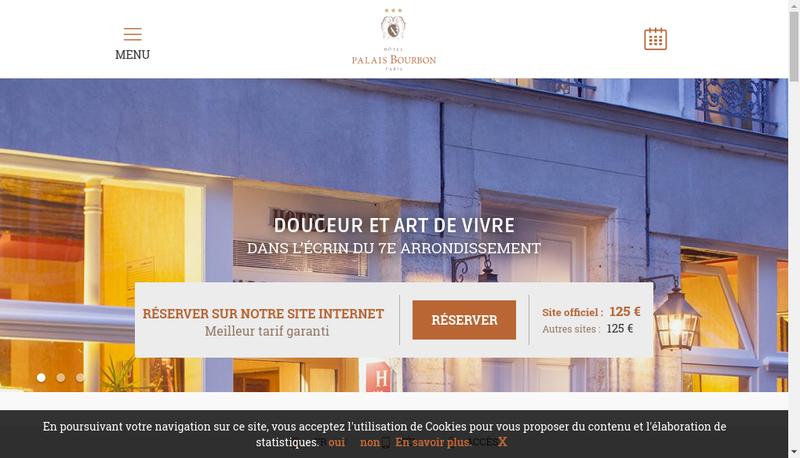 Capture d'écran du site de Societe Hotel Palais Bourbon