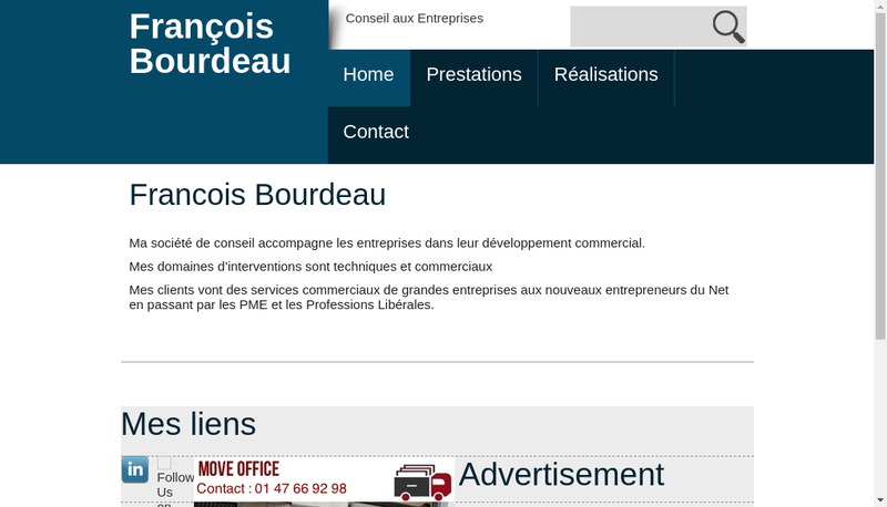 Capture d'écran du site de Francois Bourdeau