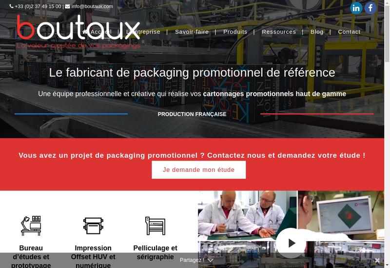Capture d'écran du site de Boutaux Packaging
