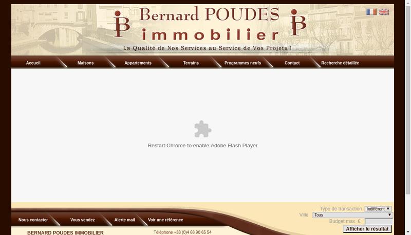 Capture d'écran du site de Bernard Poudes Immobilier