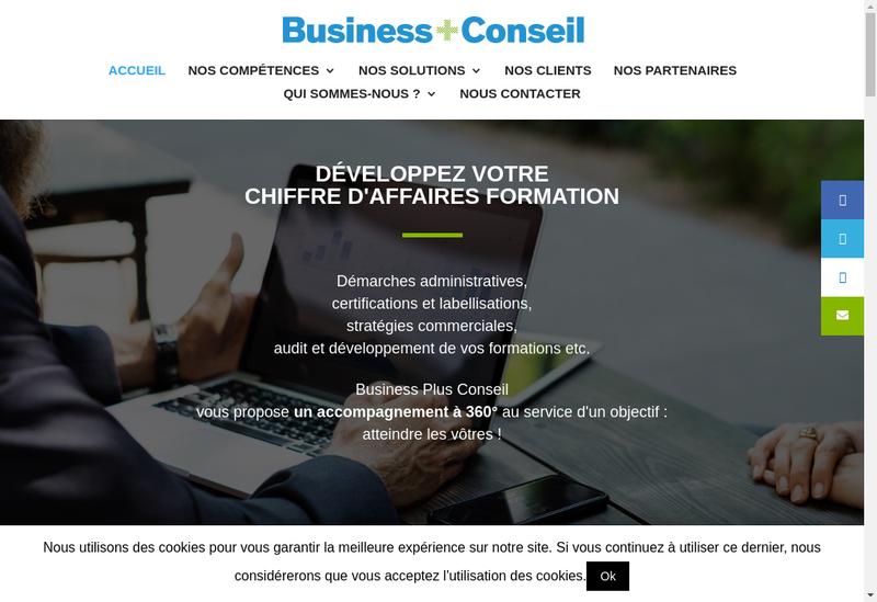 Capture d'écran du site de Business Plus Conseil