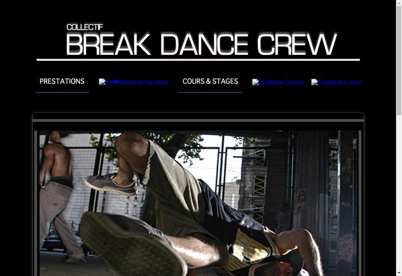 Capture d'écran du site de Break Dance Crew
