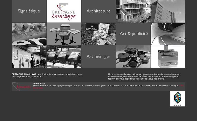 Capture d'écran du site de SAS Bretagne Emaillage
