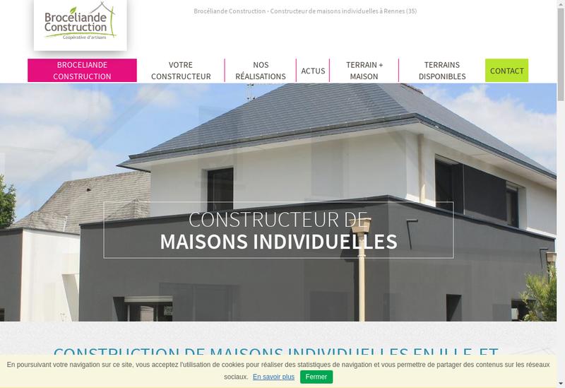 Capture d'écran du site de Broceliande Construction