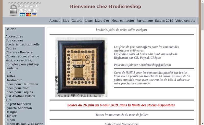Capture d'écran du site de Broderieshop