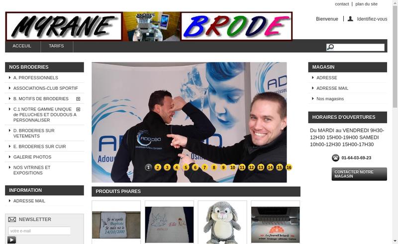 Capture d'écran du site de Myrane