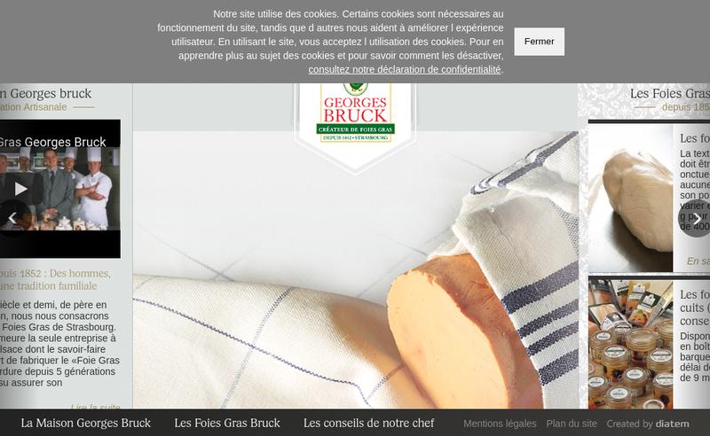 Capture d'écran du site de Georges Bruck les Foies Gras de Strasb