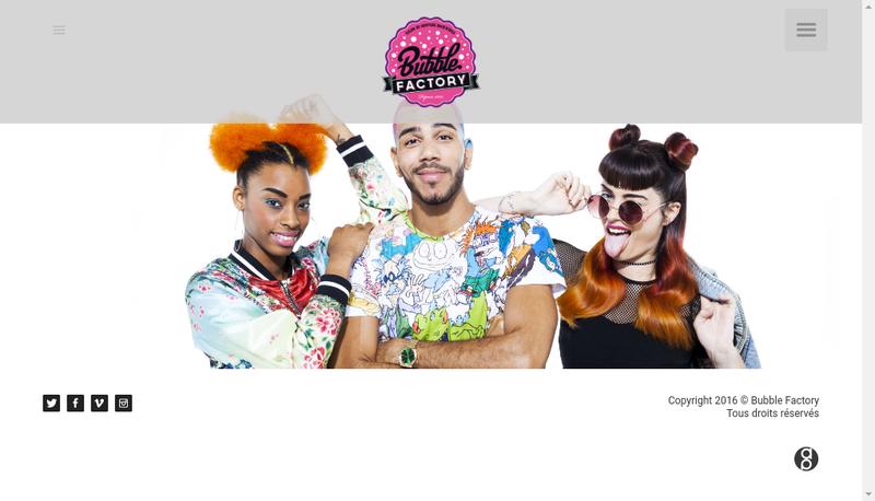 Capture d'écran du site de Bubble Factory