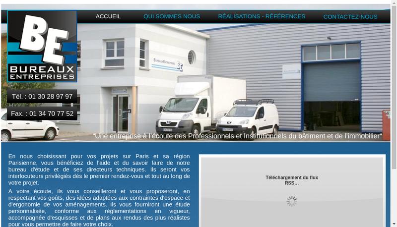 Capture d'écran du site de Bureaux Entreprises