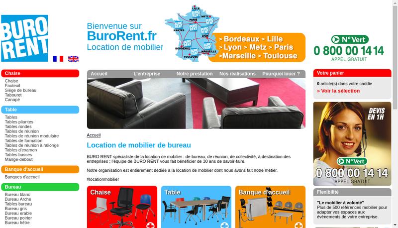 Capture d'écran du site de Buro Rent