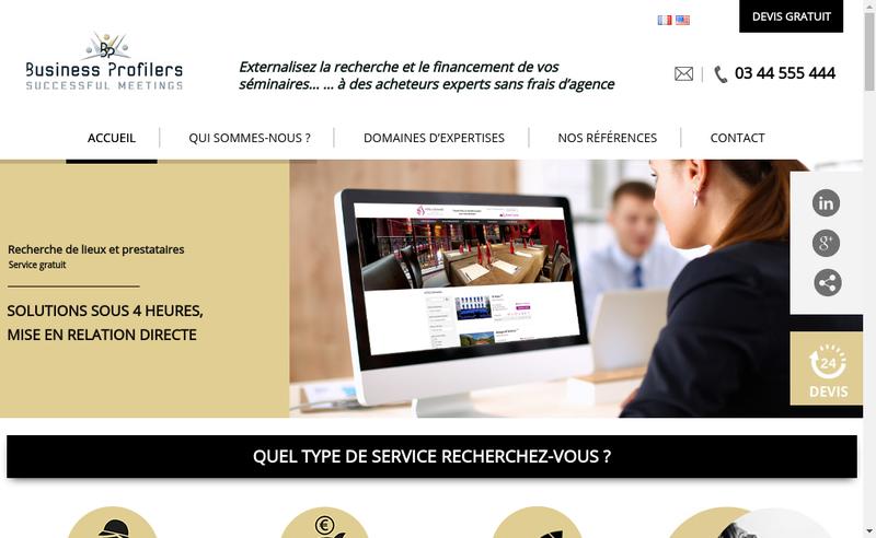 Capture d'écran du site de Business Profilers