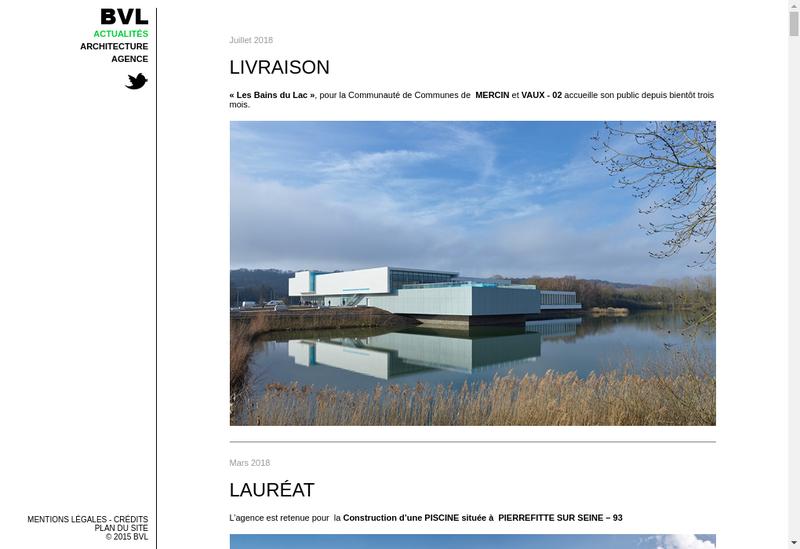Capture d'écran du site de Bvl Architecture