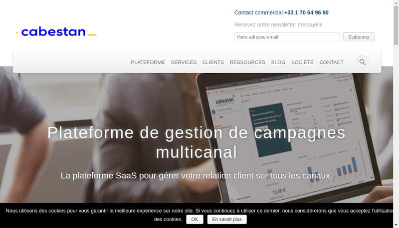 Capture d'écran du site de Cabestan