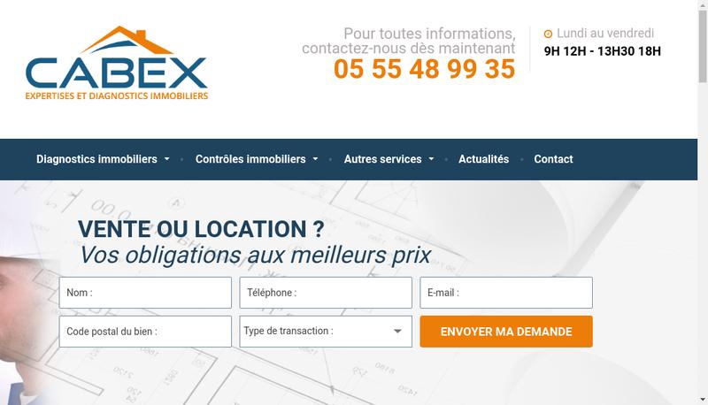 Capture d'écran du site de Cabex