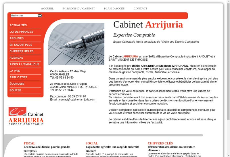 Capture d'écran du site de Cabinet Arrijuria