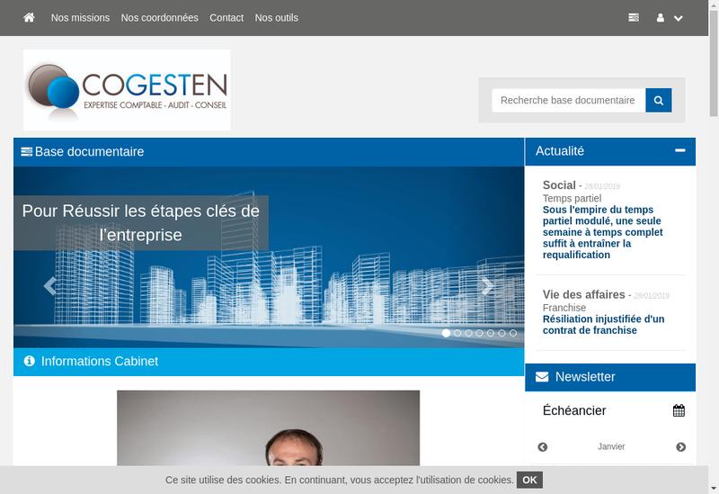 Capture d'écran du site de Cogesten