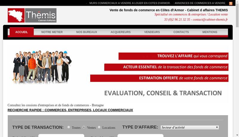Capture d'écran du site de Cabinet d'Affaires Themis