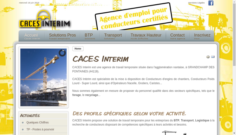 Capture d'écran du site de Caces Interim