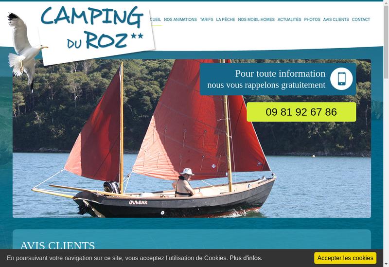Capture d'écran du site de Camping le Roz