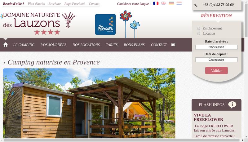 Capture d'écran du site de Domaine des Lauzons