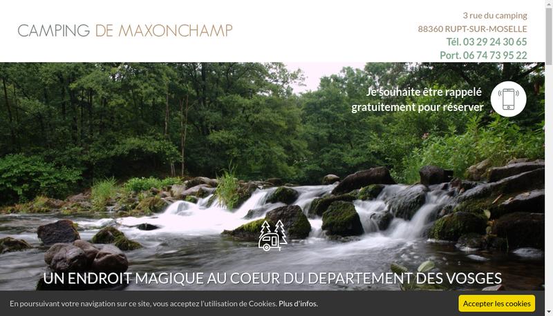 Capture d'écran du site de Camping de Maxonchamp