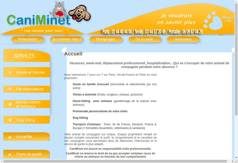 Capture d'écran du site de Caniminet Une Nounou Pour Nous