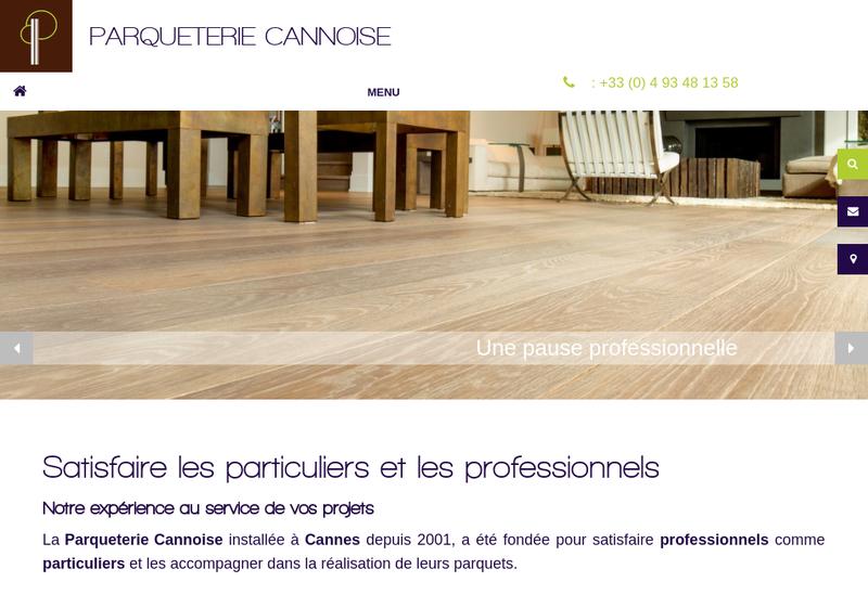 Capture d'écran du site de La Parqueterie Cannoise