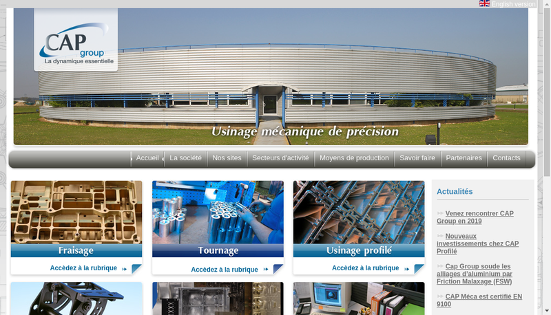 Capture d'écran du site de Cap Profile