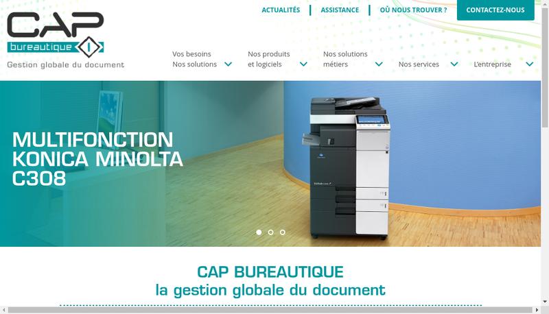 Capture d'écran du site de Cap Bureautique