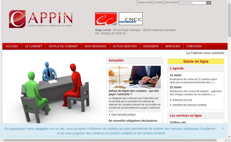 Capture d'écran du site de Cappin