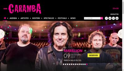 Capture d'écran du site de Caramba Spectacles