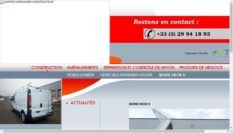 Capture d'écran du site de Carfar Lorraine