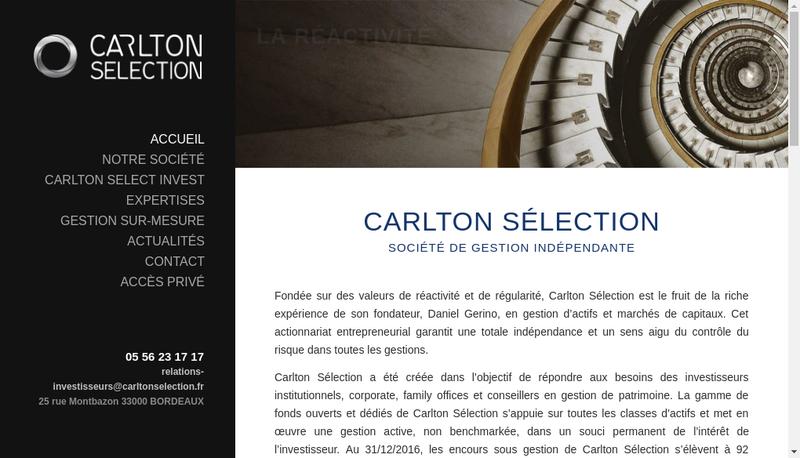 Capture d'écran du site de Carlton Selection