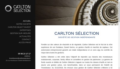 Site internet de Carlton Selection