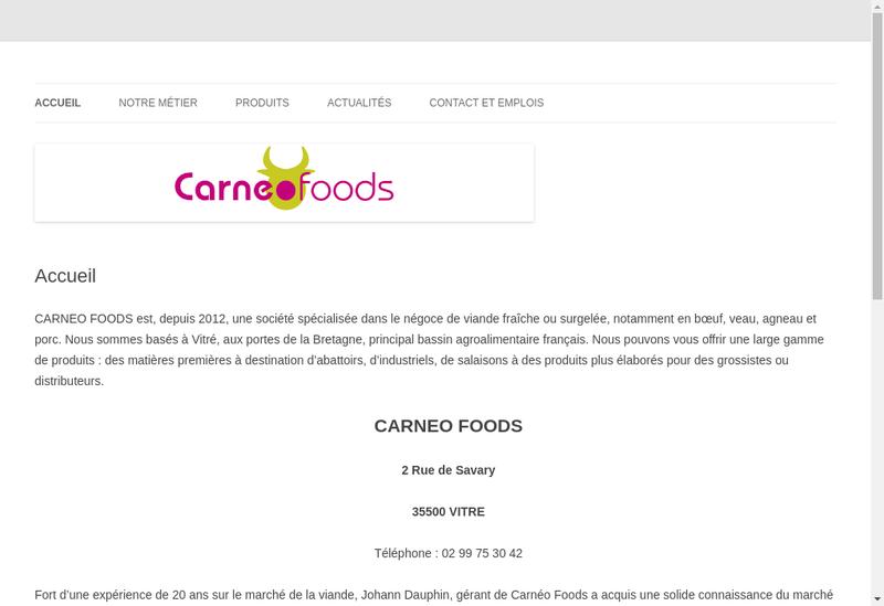 Capture d'écran du site de Carneo Foods