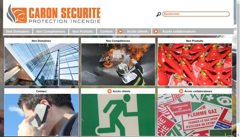 Capture d'écran du site de Caron Securite