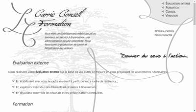 Capture d'écran du site de Carrie Conseil Formation
