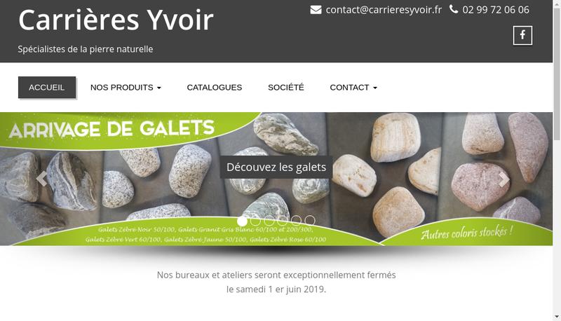 Capture d'écran du site de Carrieres Yvoir