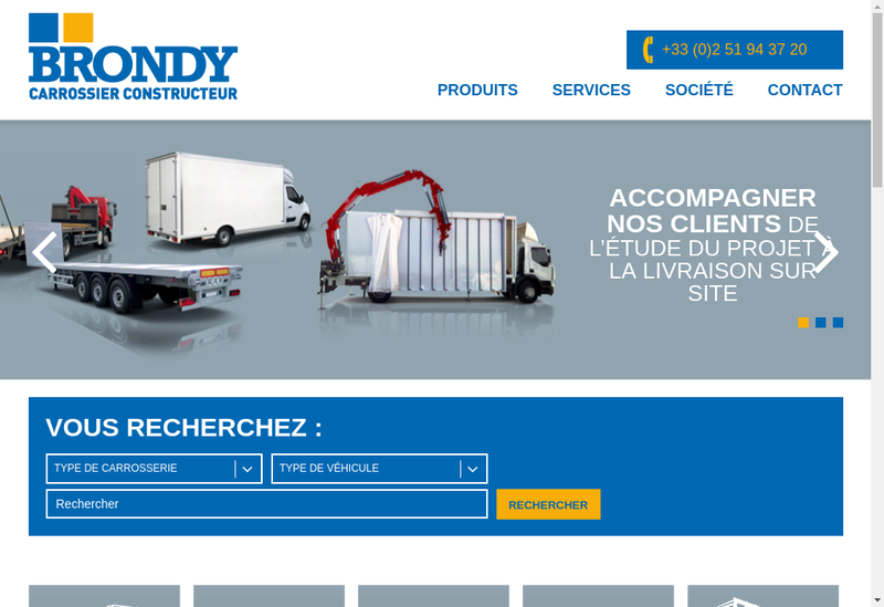Capture d'écran du site de Carrosserie Brondy