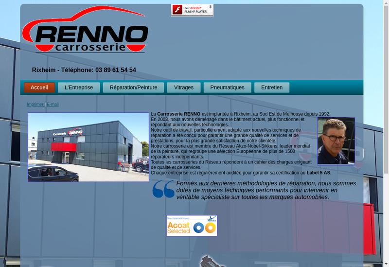 Capture d'écran du site de Carrosserie Renno