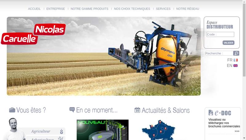 Capture d'écran du site de Caruelle Nicolas