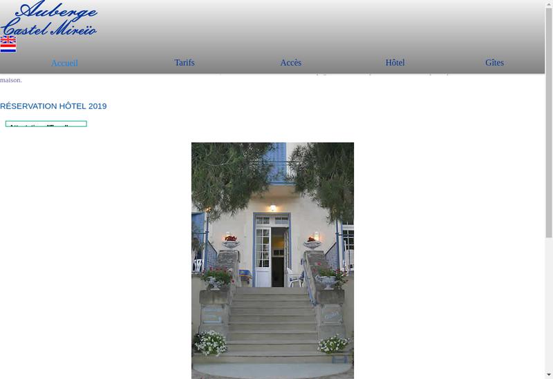 Capture d'écran du site de Auberge Castel Mireio