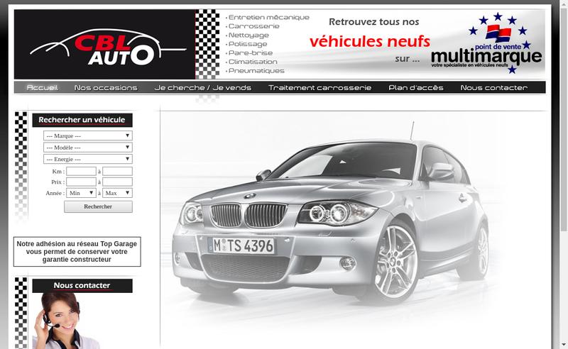Capture d'écran du site de Cbl Auto