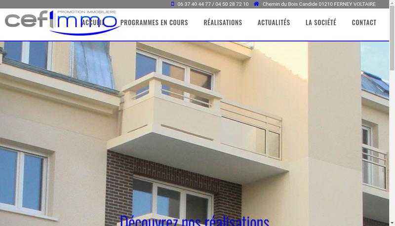 Capture d'écran du site de Cefimmo