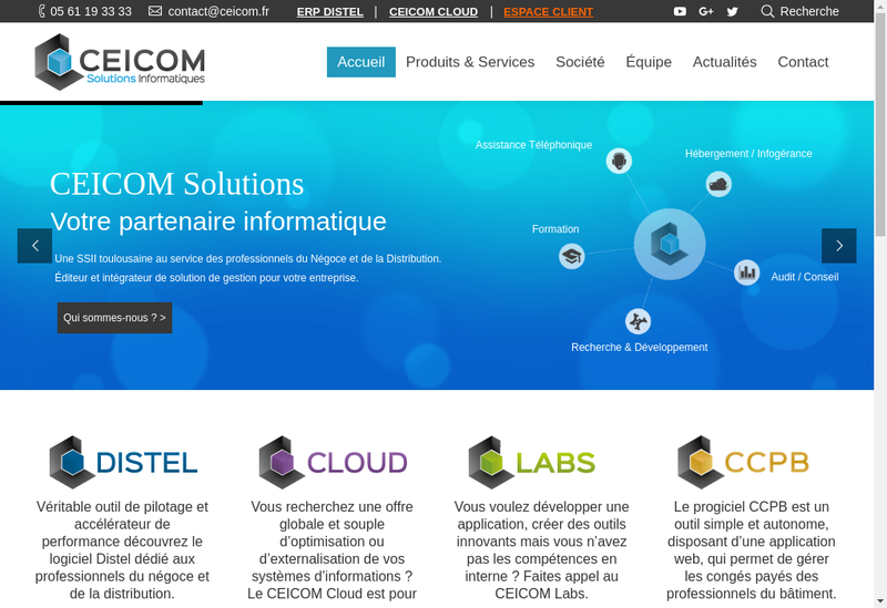 Capture d'écran du site de Ceicom Solutions