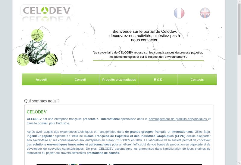 Capture d'écran du site de Celodev