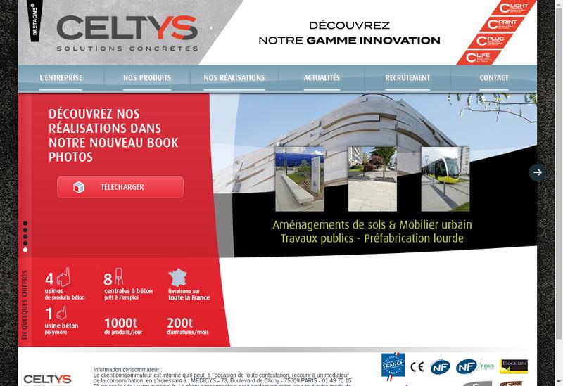 Capture d'écran du site de Celtys