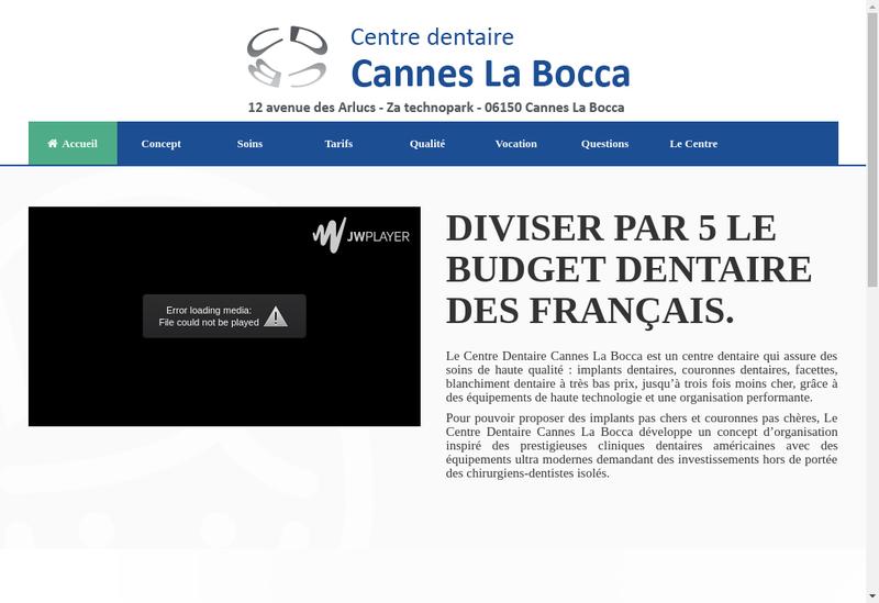 Capture d'écran du site de Centre Dentaire Cannes la Bocca